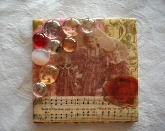 Mixed Media Handmade Art Tile Mosaic, Recycled Art, Book Page Art, Christian Art