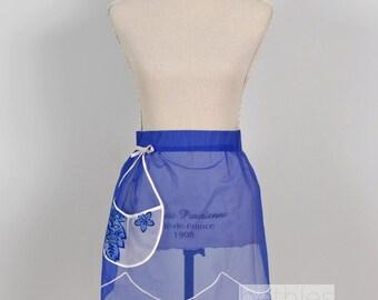 1960s Apron Hostess Apron Half Apron Apron with Pocket Organza Apron Vintage 60s Bright Blue Apron Blue Organza Apron Sheer Apron Sheer Blue