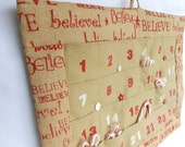 BELIEVE Christmas Advent Calendar in Printed Burlap/ Can be Personalized / Christmas Countdown Calendar with Pockets