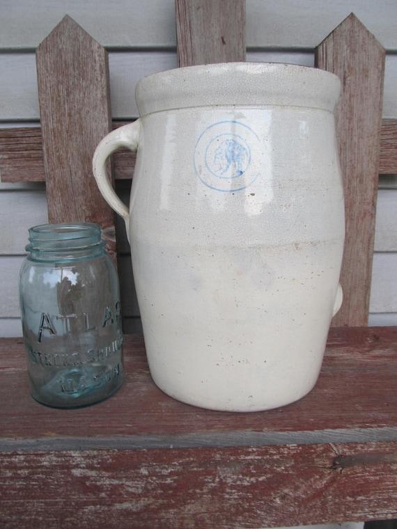 FALL SALE Primitive Antique White Louisville Potter Butter Churn Stoneware Crock