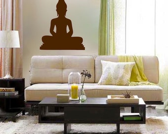 Buddha Silhouette vinyl Wall DECAL Art, sticker yoga, room, home and business decor om asian peaceful