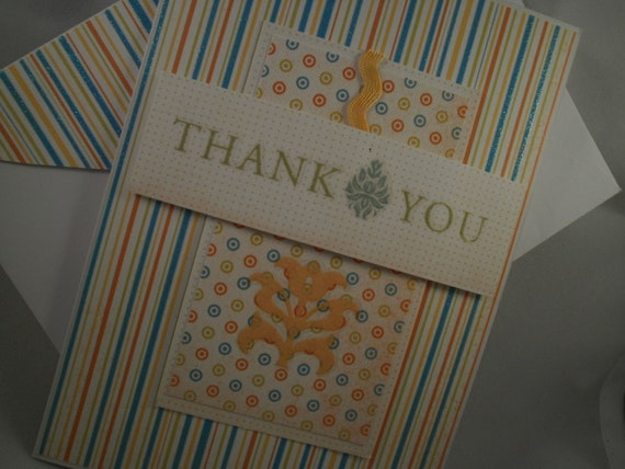 Thank You - Handmade Thank You Card with Embellished Envelope