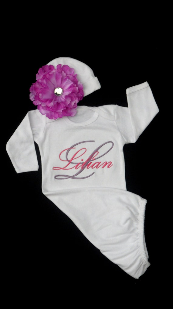 Items similar to Newborn Girl Take Home Outfit Monogram