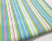 Pastel Stripes Fabric in Striped Pink, Lime Green, Turquoise, Aqua, Cornflower Blue and White Destash 2 Yards Yardage