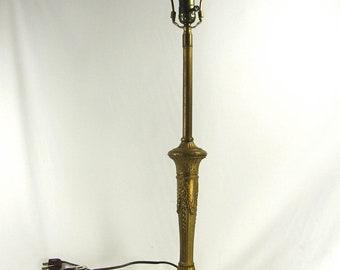 Table Lamp Vintage 1920 1930s Brass Finish Cast Metal Heavy Nouveau