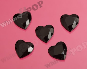 14MM Black Heart Acrylic Rhinestone Flatback Cabochons, Heart Cabochons, Faceted Valentine's Day Hearts (2-4H,C2-12)