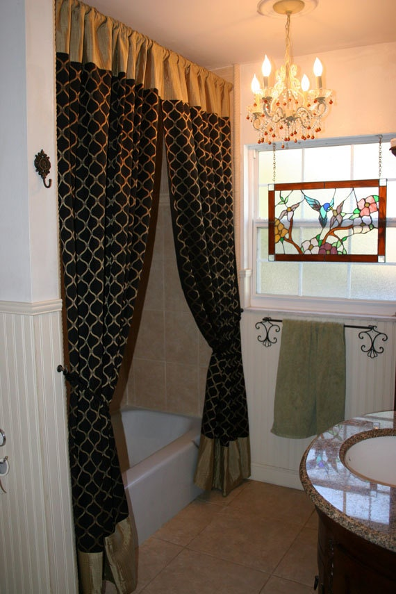 Sophisticated Fabric Shower Curtains Or Window Panels Black