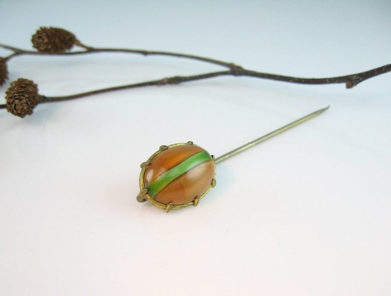 Arts and Crafts Stick Pin Antique Glass Cats Eye Stripe Golden Honey Green 1910s Hat Jewelry