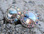 Ice Moonlight Shimmer Crystal Aurora Borealis Earrings Sugar Sparklers Swarovski Northern Lights Rhinestone Stud Earrings Mashugana