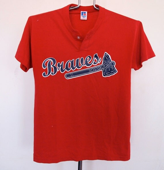 Vintage Atlanta Braves Shirt Baseball Henley Small