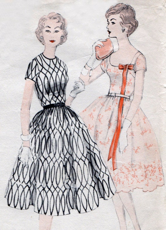 1950s Dress With Full Skirt & Petticoat Vintage Sewing Pattern - Vogue 9732 Size 14 Bust 34