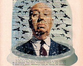 Portrait Original Illustration Drawing Mixed Media Print Art Poster Acrylic Painting Holiday Decor Gift: Hitchcock with birds In Snow Globe
