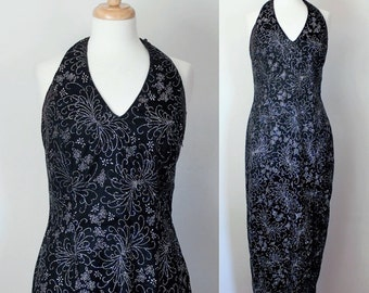 Velvet Halter Dress / Formal Dress / Party Prom Dress / Scott McClintock / 90s Body Con Dress / 90s Maxi Dress / Vintage Dress