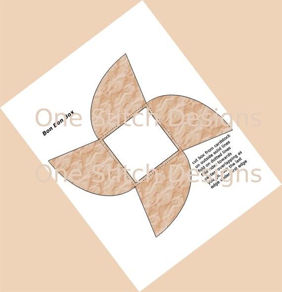 Printable Wedding Party Favor Box Crinkled Paper Gift Box Bon Bon Style
