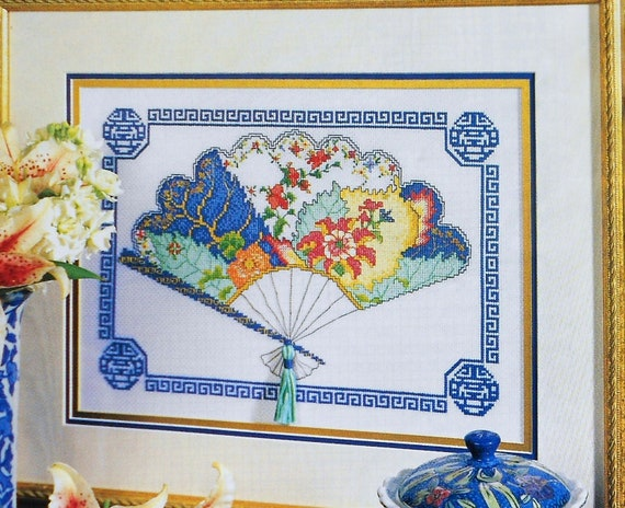 Robert James TOBACCO LEAF FAN Asian Oriental Picture - Counted Cross Stitch Pattern Chart - fam