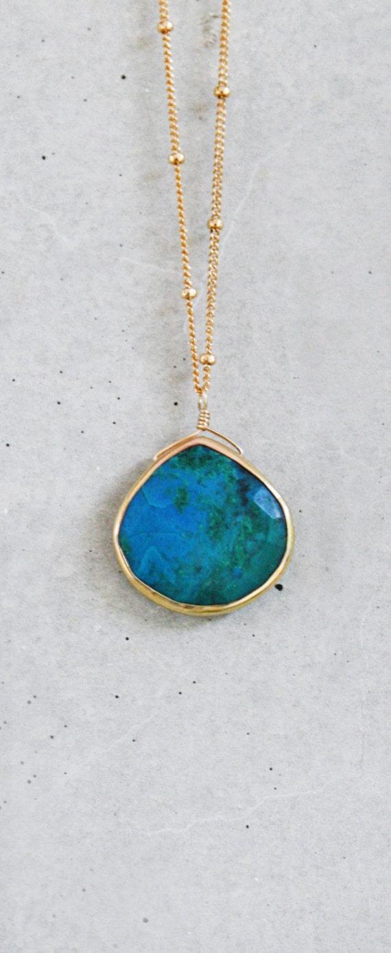 Chrysocolla Heart Bezel 14k Gold Filled Necklace