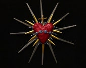 Sacred Heart Sculpture Found Object Art Evil Eye Nazar Real Bone 36
