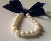 Pearl Ribbon Bracelet , Pearl Ribbon Bracelet, Bridesmaid Gift Bracelet, Bridesmaid Bracelet, British Seller UK, Gifts for Girls