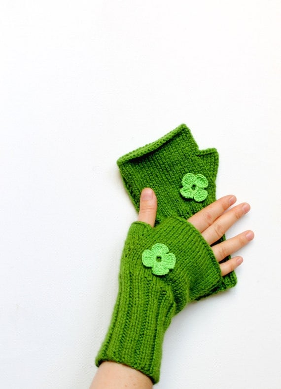 Hand knit with a soft green acrylic yarn/ Winter trends 2012 collection.Valentines days. EtsyXO.  St. Patricks day.  Winter fashion.