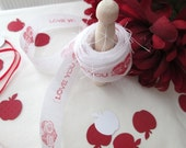 Love You So Red & White Ribbon Shabby Chic  3.5 yds