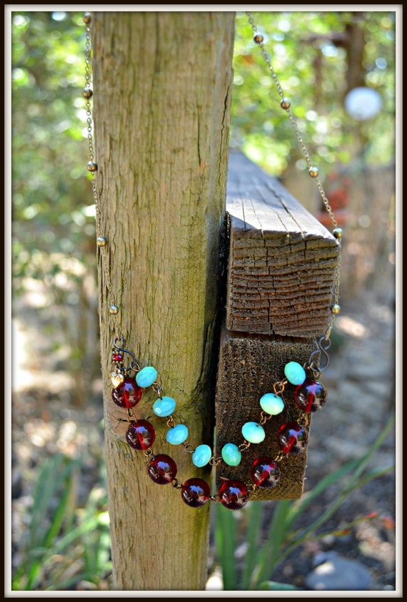 Turquoise and Red Statement Necklace Double Strand Glass and Brass Beaded Necklace