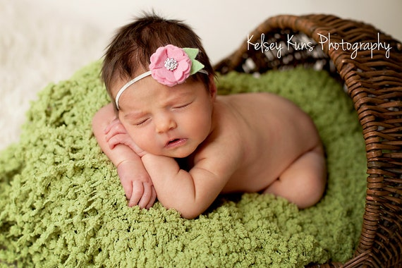 Baby Pink Felt Flower Headband with Crystal Rhinestone Accent- Flower Headband or Hair Clip -  The Mia in Pink