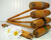 Retro Wooden BackYard Croquet Equipment Ensemble - Vintage OutDoor Sports 16 Piece Set - Repurpose Gameroom Decor