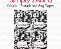 Zebra Print Party Favor, Pink and Zebra Bridal Shower Favor, Treat Bag Topper, Graduation Party -- Editable, Printable, Instant Download