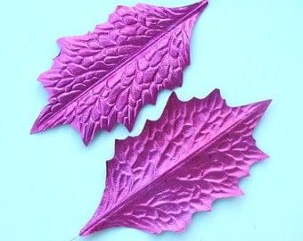 PINK Christmas Wreath Foil Metallic Leaves DIY Garland Art Craft Millinery Flower Paper Holly LG O