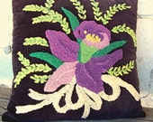Vintage Black Pillow, Needle Punch Pillow, Floral Accent Pillow, Purple Green Black Yellow 1960s Housewife Decor