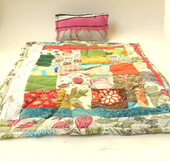 Handmade Doll Quilt, Reversible Eclectic Patchwork, Child's Toy with Pillow, viAnneli Folk Art Quilt