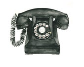 telephone watercolor giclee print - 8x10 //  art print // wall decor
