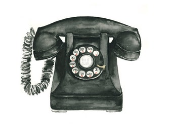 telephone watercolor giclee print  //  art print // wall decor