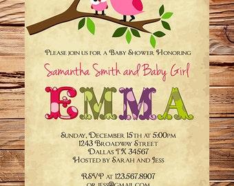 Owl Baby Shower Invitation, Baby Shower Invite, Girl, Whimsical, Pink, Baby shower boy Owl, 1450