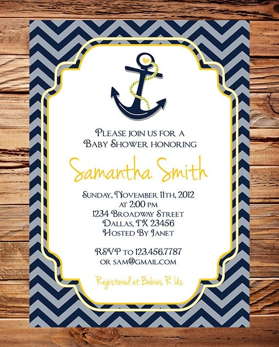 items similar to baby shower invitation boy anchor boy shower boy