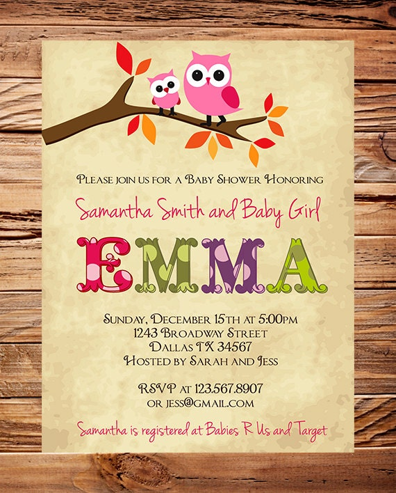 Owl baby shower invitation baby shower invite girl etsy filmwisefo