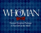 Doctor Who Inspired Surprise Package, Whovian Present in Small Muslin Gift Bag, Blue Police Box, TARDIS Inspired Handmade Fan Art