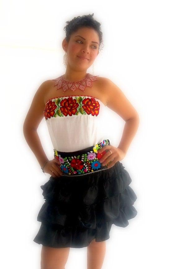 Las rosas de frida mexican handmade embroidered by