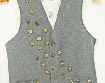 Vintage Vest Upcycled with Vintage Brass Buttons Steampunk
