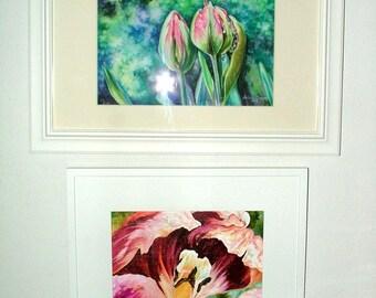 Tulip, Framed ORIGINAL Painting, Tulip, Flower, White Frame, Birthday Gift, Family Gift