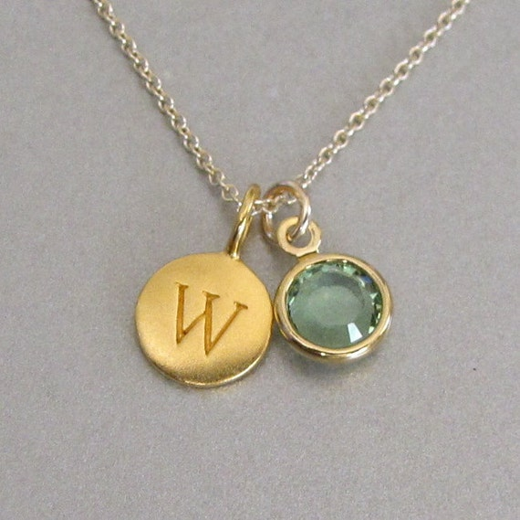 gold initial birthstone charm necklace by