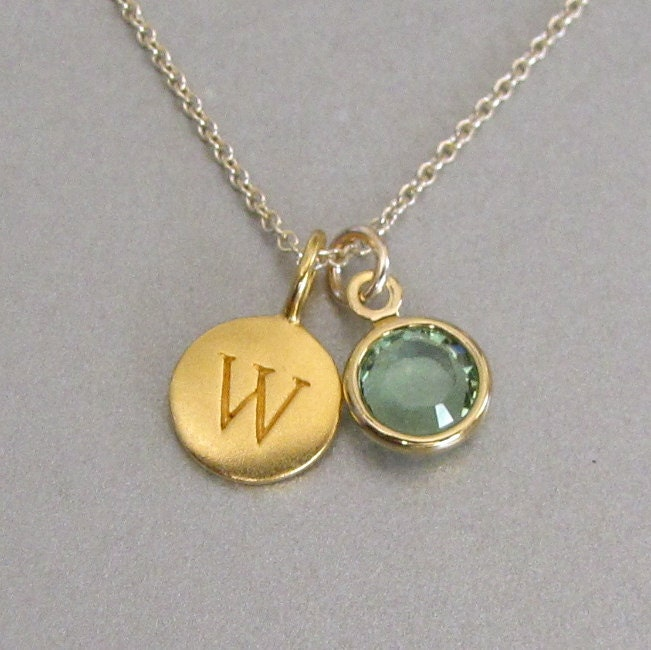gold initial birthstone charm necklace by. Black Bedroom Furniture Sets. Home Design Ideas