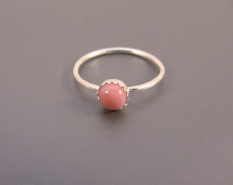 Sterling Silver Ring with Pink Fused Glass Cab