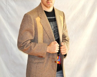 1970's Mens Hunting Jacket 42R Western Rockabilly Vintage Leather & Wool Blazer Light Coat Retro Costume