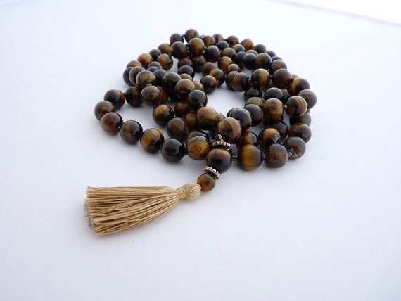 Tiger eye mala - 12mm beads knotted full mala - Handknotted by Sphalie