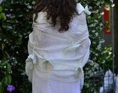 Silk Bridal Shawl/Wedding Shrug/ Bridal Bolero / wedding Shawl with flowers / Nuno felted Bridal Wrap OOAK