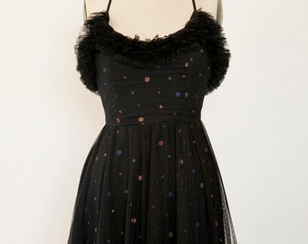 Black tulle party dress with ruffles and colorful polka dots