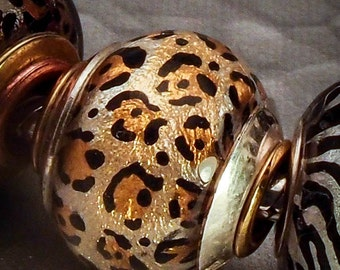 Leopard Sparkle - Glass Bead Lampwork Euro Big Hole Charm - SRA Artist (Made to Order) Hand painted