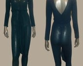 POYZA Multicolor Solid Teal Blue Rayon Stretch Bodycon Double V-nk Long Sleeves Stirrup Catsuit Bodysuit Jumpsuit w/ Long Matching Belt