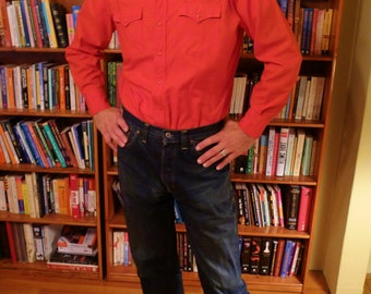 WESTERN SWING--Bright Red 1950s Mens Western Shirt with Snap Pockets--M,L